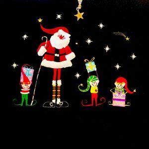 3/4 zip XL Fleece with Santa scene
